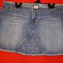 Nice Abercrombie Fitch Cut Off Waist  Blue Cotton Jean Skirt Sz 0 Photo