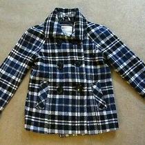 Nice Aeropostale Blue Plaid Pea Coat Wool Blend Double Breasted Sz X Small Xs Photo
