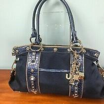 Nice Blue Canvas/leather Kathy Van Zeeland Purse Handbag Gold Lucky Charms Photo