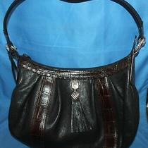 Nice Brighton Splendid Black & Chocolate Euc Leather Purse Shoulder Bag D436765 Photo