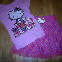 Nice Girls Pink & Purple Hello Kitty Shirt & Skirt Outfit Size M Photo