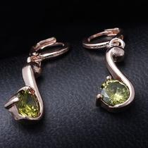 Nice Green Hot Rose Gold Filled C.z Women Lady Dangle Earrings Jewelry Cz0168 Photo