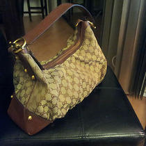 Nice Gucci Medium Jockey Beige Monogram W/gold Accents Gg Hobo Bag Photo