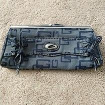 Nice Guess Women's Blue Medium Wash Denim Clutch Purse Hand Bag Photo