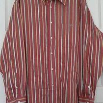 Nice Lacoste Dress Striped Shirt Tag Size 44 Mauve Blue Yellow Green Brown Xl Photo