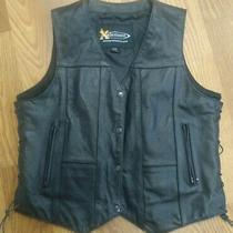 Nice  Leather Motorcycle Biker Vest 2xl Xelement Photo