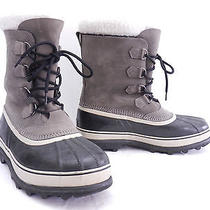 Nice Mens 14 Sorel Caribou Gray Leather Waterproof Insulated Winter Snow Boots Photo