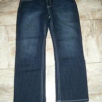 Nice Nine West Women's Dark Denim Stretch Blue Jeans Flap Pockets 16 32 Photo