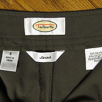 Nice Talbots Stretch Misses Size  6 Olive Green Brown Dress Casual Flat Pant Photo