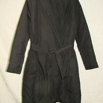 Nice Women's French Connection Trench Puffer Coat Black Size 6 Polyester Photo