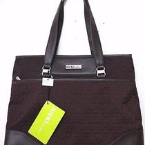 Nicki by Nicole Miller Fancy Quilt Collection Computer Tote Brown Nwt Photo