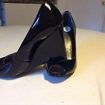 Nicole by Nicole Miller Black Open Toe Wedge Heel Shoes Size 6 Photo