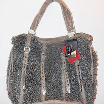 Nicole Lee Fifi Cinched Lamb Fur Panel Large Tote Bag  Gray Photo