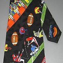 Nicole Miller 1992 Silk Tie Touchdown Football Home vs Visitor Helmets Decor Photo