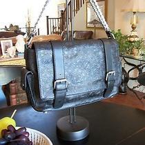 Nicole Miller Addison Black Tooled Leather Bike Chain Hand Bag Purse Nm104m Photo