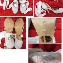 Nicole Miller Ankle Wrap Wedding Shoe Satin Ivory  Size 8 Photo