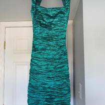 Nicole Miller Aqua Green Taffeta Shimmer Stretch Dress / Wedding Prom Sz 0 Photo