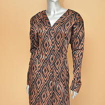 Nicole Miller Black and Tan Printed Dress Size 12 Vintage Dress Geometric Print Photo