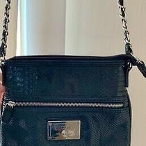 Nicole Miller Black Snakeskin Patterned Crossbody Purse Chain Strap Photo
