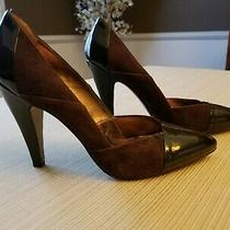 Nicole Miller Brown Patent Leather & Suede Women's 4 3/8