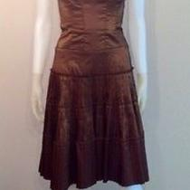 Nicole Miller Brown Shimmer Strapless Corset Dress Size 0 Photo