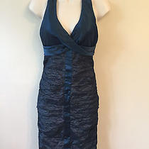 Nicole Miller Collection Blue Halter Short Formal Dress Size 6 Stretch Photo