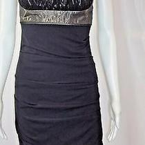 Nicole Miller Collection Ruched Metallic Gold and Black Silk Dress Sz 2 Photo