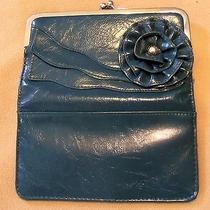 Nicole Miller Dark Teal Fold-Over Clutch W Fluted-Edge Flower on Front Photo