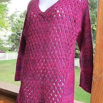 Nicole Miller Ladies  Large v Neck Dressy  Knit Bright Colored  Sweater Photo