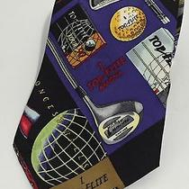 Nicole Miller Mens Top Flite Golf Theme Novelty Neck Tie Silk Ball Bag Club 1994 Photo