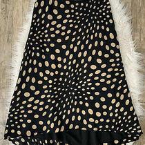 Nicole Miller New York Sz 6 Black & Gold Polka Dot High Low Midi Silk Skirt  Photo