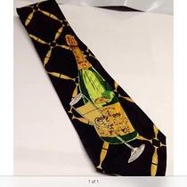 Nicole Miller Novelty Champagne Flute Remedies New Years 1992 Silk Necktie Photo