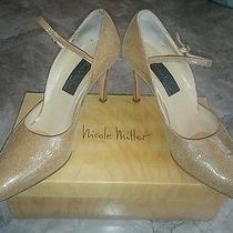 Nicole Miller Nude Sparkle Flute Women's Italian Strap Heels Pumps Size 7.5 Box Photo