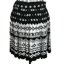 Nicole Miller Ny Pleated Geometric Print Skirt Black Grey Size Xs Photo