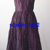 Nicole Miller Purple Metallic Crinkle Taffeta Dress 2  4 Photo