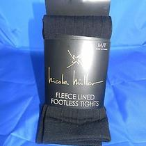 Nicole Miller Ribbed Fleece Lined Footless Black Tights M/t Nwt Photo