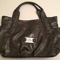 Nicole Miller Shiny Gunmetal Gray Silver Link Accent Zip Top Shopper Bag Purse Photo