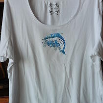 Nicole Miller Size 2x White With Dolphin/bling Short Sleeve Cotton Photo