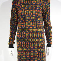 Nicole Miller Stained Glass Geometric Print Ls Stretch Sweater Dress M 6 8 Photo