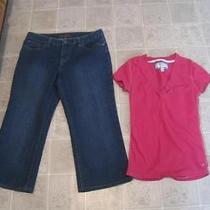 Nicole Miller Sz 10 Jean Capris Pants & American Eagle Pink Knit Top Sz M P2 Lot Photo