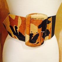 Nicole Miller Wide Elastic and Leopard Fur Belt Size S Photo