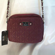 Nicole Miller Wine Quilted Crossbody Purse Nwt  Photo