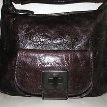 Nicoli Graphite Cracked Leather Hobo Bag Photo