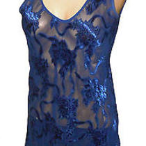 Nightie Night Gown Victoria's Secret Vintage Sheer Royal-Blue S Photo