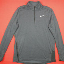 Nike 80 Mens L Therma Sphere Element Running 1/2 Zip Pullover Shirt Gray Photo