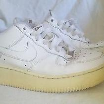 Nike Air Force 1 Gs Solid White Leather Athletic Shoes Size 6 M Youth 314192-117 Photo