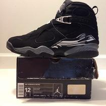 Nike Air Jordan Retro 8 Viii Sz 12 Black Chrome Silver Grey Aqua I Xi Red Iv Iii Photo