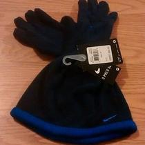 Nike Boys Girls Fleece Beanie Gloves Mitten Set 4-7 Gloves Hat Skull Blue Black Photo