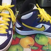 Nike Boys High Top Sneakers Size 4 Youth Purple/yellow New Photo