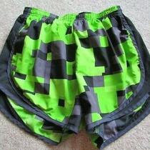Nike Dri-Fit Black Green Gray Square Design Shorts S Running Built in Briefs Photo